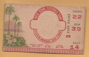 1940-Rose-Bowl-football-ticket-stub-USC-Trojans-v-Tennessee-Volunteers-wear