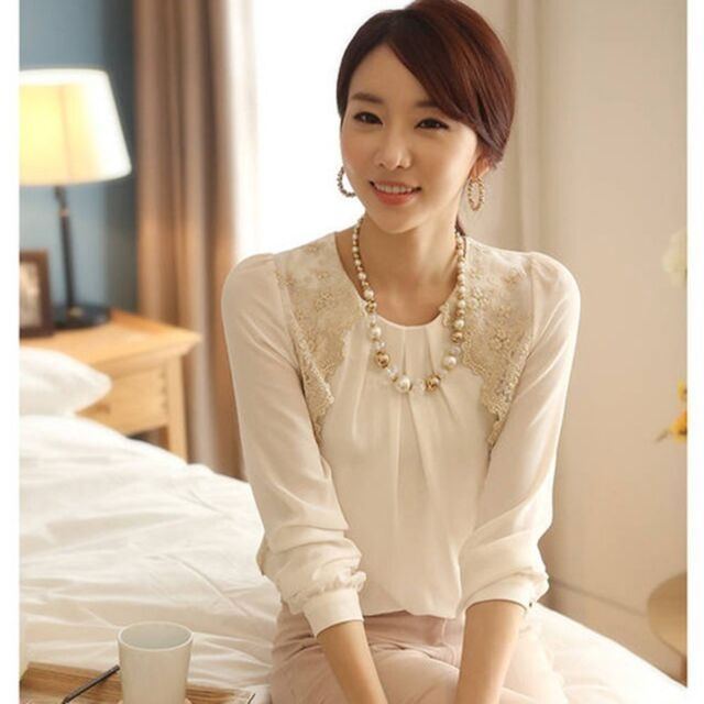 Korean Fashion Womens Vintage Long Sleeve Sheer Tops Lace Shirt Chiffon Blouse