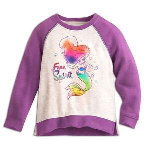 NWT-Disney-Store-SZ-2-Ariel-The-Little-Mermaid-Free-Spirit-Sweatshirt-Roglan