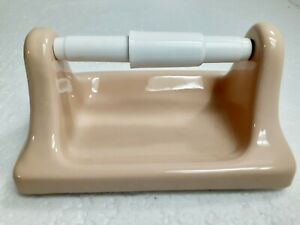 Peach Ceramic TP Toilet Paper Holder Vintage Suez Tan Classic Color 048 Retro
