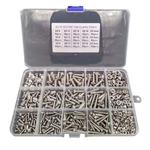 Box 500PCS M3 M4 M5 304 Stainless Steel Hex Socket Head Cap Screws Nut Kit Set