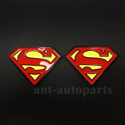 2pcs Metal Chrome Superman Logo Badge Trunk Emblem Decal Stickers Car Motorcycle