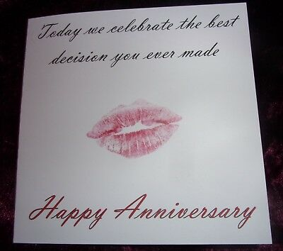 Funny Humorous Joke Anniversary Card From Wife to Husband Best Decision Kiss