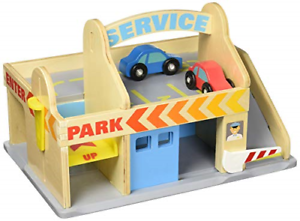 Melissa & Doug Service Station Parking Garage With 2 Wooden Cars and Drive-Thru
