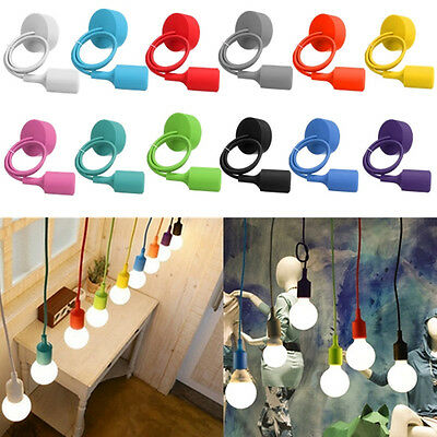Colorful Rubber Ceiling Silicone Pendant E26/E27 Socket Holder AC Powered