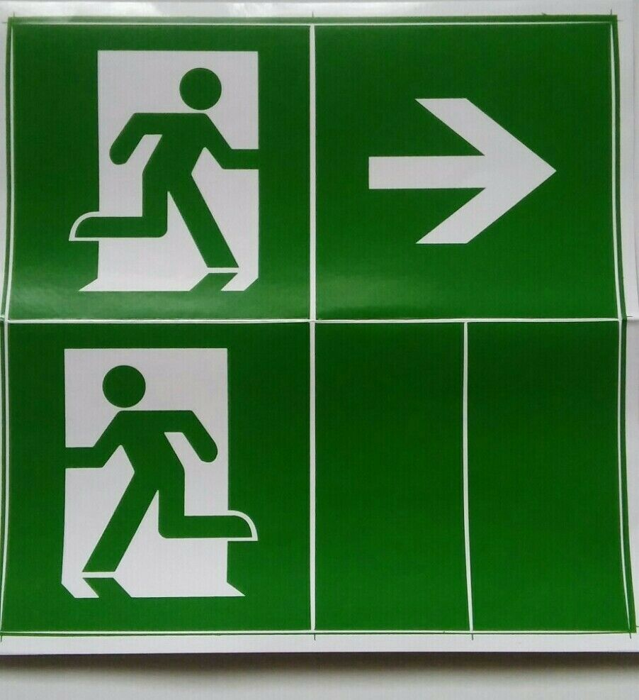 1x Vinyl Stickers for Emergency Light Lighting Fire Exit Green/White Signage NEW