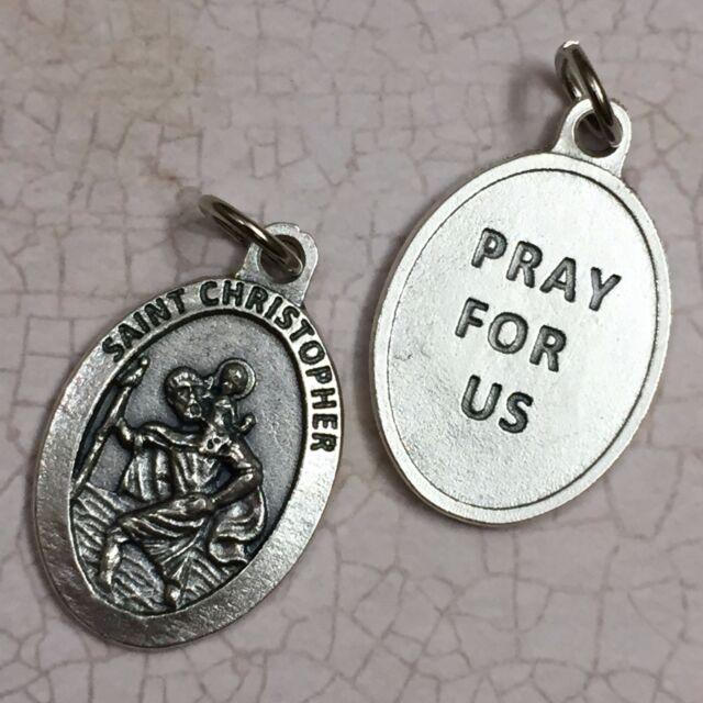 Silver round metal medal Saint St Benedict keyring Catholic 4.5cm diameter
