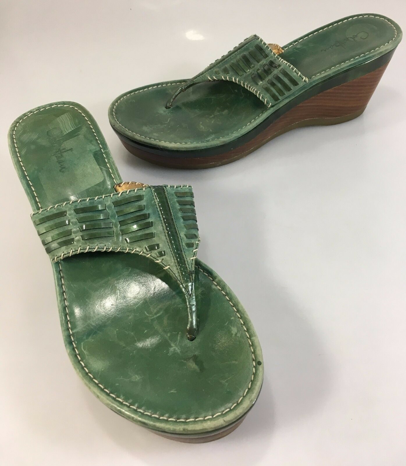 Cole Haan Womens 8B Green Leather 3 Wedge Heels Slides Sandals