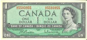 Bank-of-Canada-1954-1-One-Dollar-3-Digit-Radar-Note-G-Z-Prefix-5593955-AU-UNC