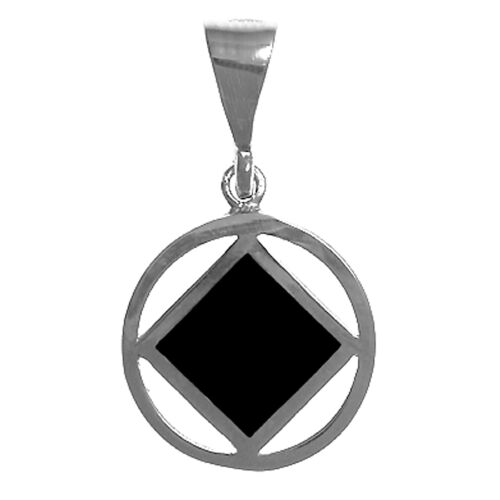 #932-10 Med taille symbole pendentif Argent sterling NA narcotiques anonymes bijoux