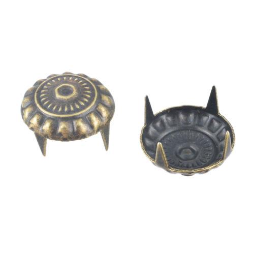 KUS 100 Bronzefarbe Gravur Muster Nieten Ziernieten Krallennieten 11x6.5mm