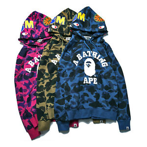 Men-039-s-Bape-A-Bathing-Ape-Shark-Head-Camo-Hoodie-Coat-Sweatshirt-Jacket
