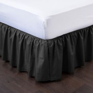 "BLACK NEW 1PC 14"" DROP SOLID PLAIN BED SKIRT WITH SPLIT CORNERS IN ALL SIZES"