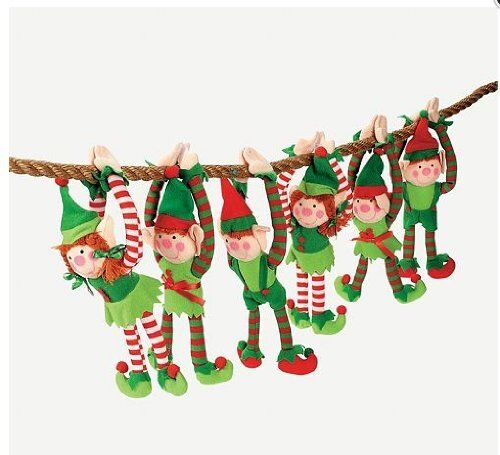 12  DELUXE PLUSH HANGING CHRISTMAS ELFS TREE DECORATIONS HOLIDAY