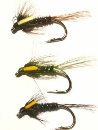 9 Neuf Mixte Rutland Cruncher nymphes sz10 truites mouches par IAIN Barr Pêche à la mouche