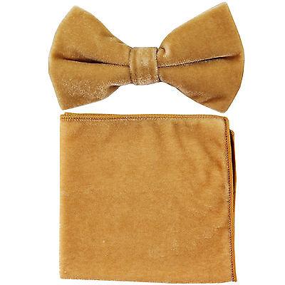 New formal men/'s pre tied velvet Bow tie /& Pocket Square Hankie solid Royal blue