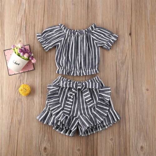 Toddler Kids Baby Girl Fashion 2PCS Outfits Clothes T-shirt Top /& Ruffle Shorts