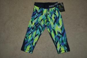 99de0582 Details about Nike Pro Girls Printed Training Capris 846906-702 Blue See  Sizes NWT