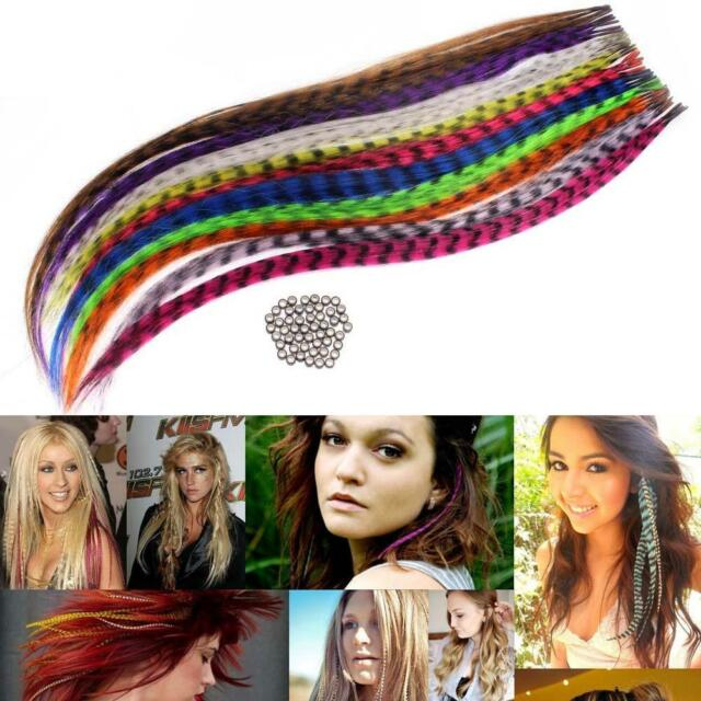 "50pcs Grizzly synthetic Feather hair Extensions 16"" with 50 beads for free GL0"