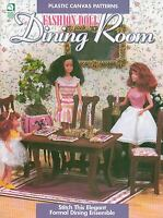 Fashion Doll Dining Room Furniture Table Chairs Plastic Canvas Pattern Book