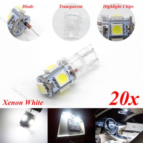 20X T10 5050 Wedge 5-SMD Super White 6000K License Plate Interior Light 168 192