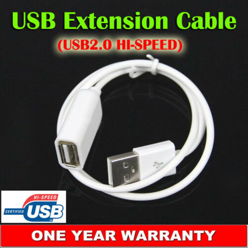 USB Extension Cable Type-A Male to Female Cord USB 2.0 Hi-Speed Extender White