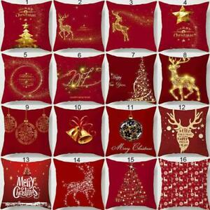 Christmas Xmas Linen Cushion Cover Throw Pillow Home Decor Chair Festive Gift CA