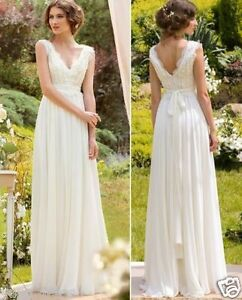 Scalloped Lace Neck 2016 Boho Beach Wedding Dress Bridal Gown Custom