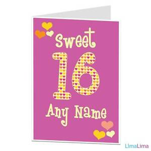Image Is Loading Personalised Happy 16th Birthday Card Sweet 16 Today