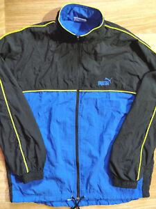 85a762cf5e04c Details about Puma 90's Vintage Mens Nylon Tracksuit Top Jacket Black Blue  XL