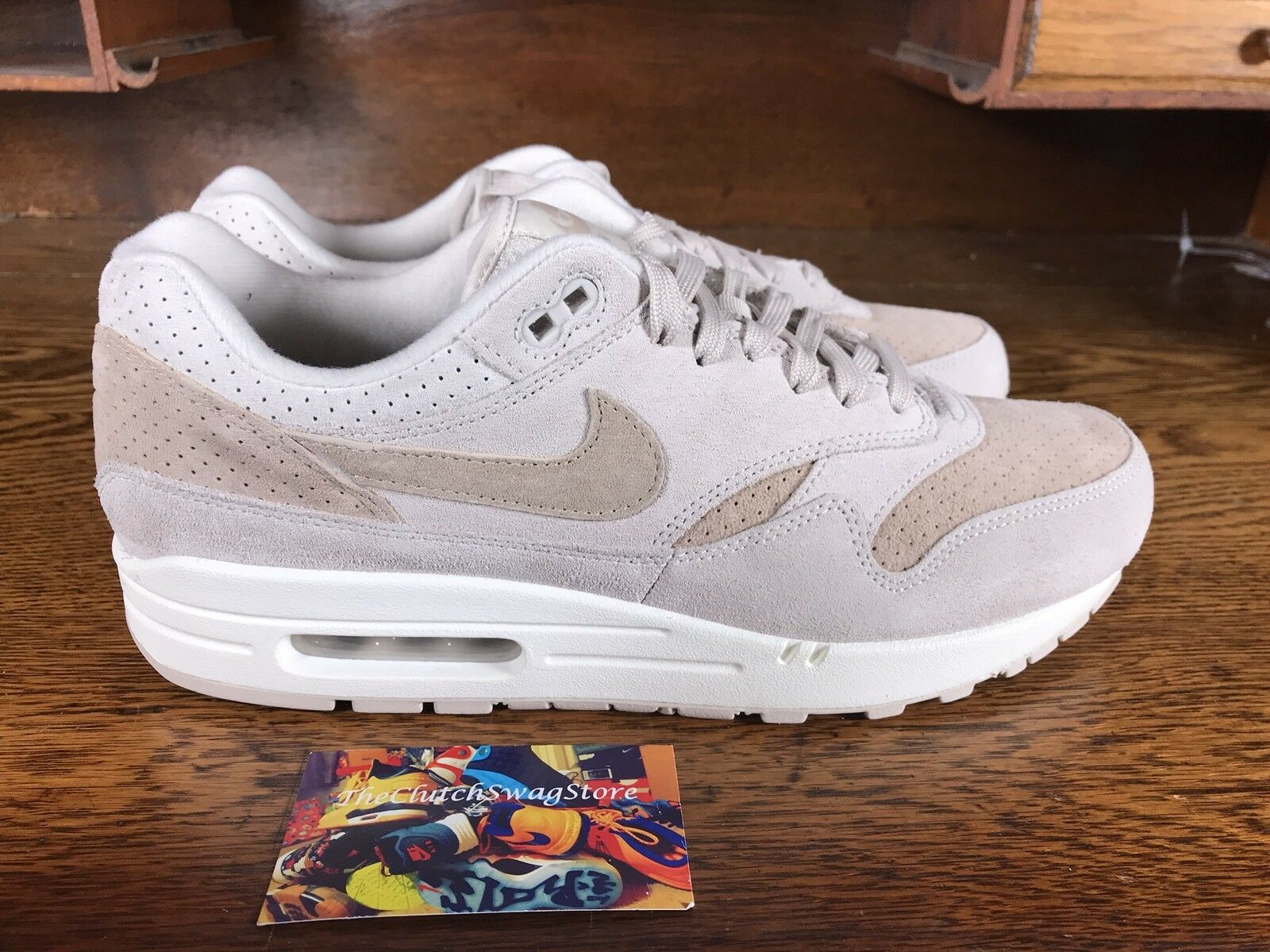 Nike Air Max 1 Premium Mens Running shoes Tan Sail White 875844 004 NEW Size 11.5