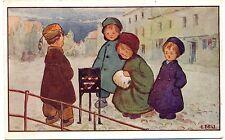 Kinder, Winter, Junge mit Maroniofen, Feldpost 1916