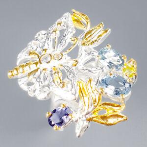 Vintage SET Natural Blue Topaz 925 Sterling Silver Ring Size 7.25/R121759