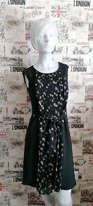 Laura-Ashley-Black-Knee-Length-Dress-Patterned-Pleated-Front-size-10-UK