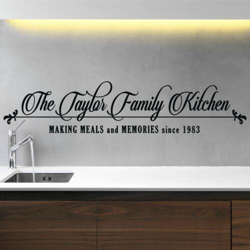 Nombre de la familia de Pared Pegatina Cocina Personalizado Personalizado Vinilo Calcomanía DF69