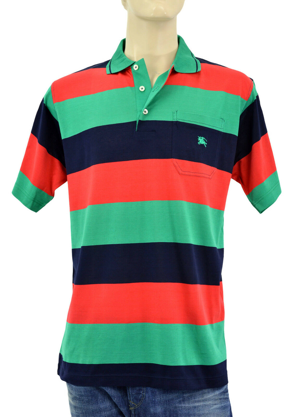 195 Burberry London Green Red Blue 100 Cotton Mens Polo Shirt S