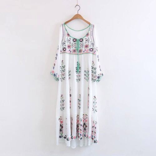 Women Hippie Mexican Floral Embroidered Deep V neck BOHO Maxi DRESS LHM15