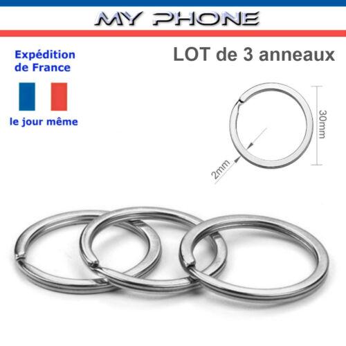 ANNEAUX Chaîne porte clés diamètre 30 mm couleur Argent Métal Fendu Bijoux clefs