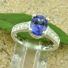 14k Solid white gold Natural  Diamond & AAAA Tanzanite Ring made in USA NWT