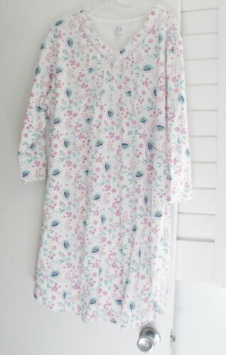 NWT Aria Womens V Neck 3//4 Sleeve Floral Gown Nightshirt AS8017772 Sz L