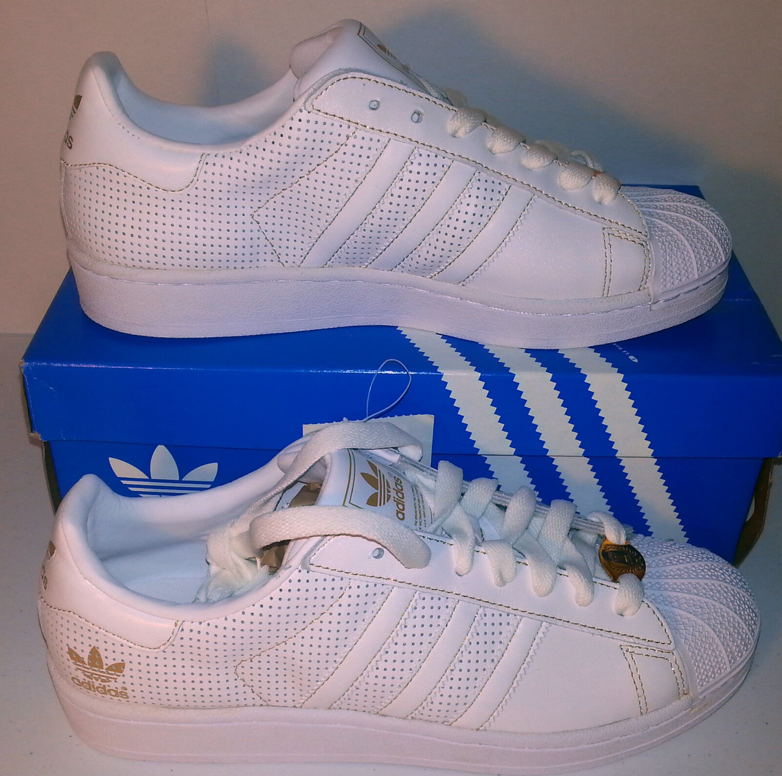 ADIDAS SUPERSTAR TL WHITE/GOLD mens SHELLTOES SHOES 8