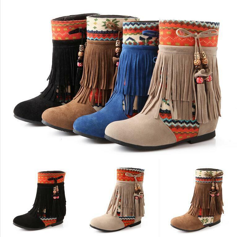 Damen Winter Quaste Ankle Kurz Stiefel Hidden Wedge Faux-Wildleder Schuhe Boho Top