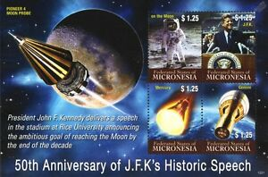Jfk Kennedy Lune Discours/gemini/mercury/pioneer 4 Space Stamp Sheet (micronésie)-mercury/pioneer 4 Space Stamp Sheet (micronesia)fr-fr Afficher Le Titre D'origine