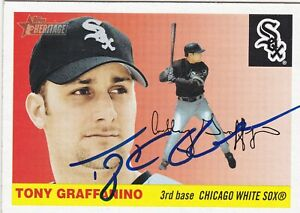 TONY GRAFFANINO CHICAGO WHITE SOX SIGNED CARD BOSTON RED SOX CLEVELAND INDIANS