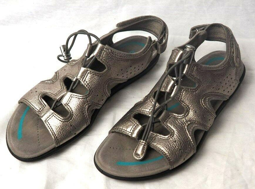 Womens ECCO Strappy Sandals Flats Open Toe Metallic Silver EUR 39 US 8 - 8.5