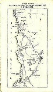 Antique map, Queensferry to Sterling