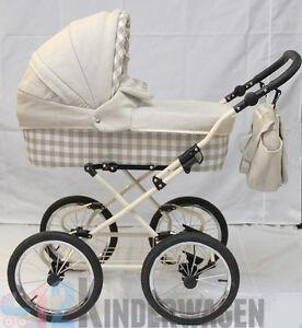 ko kinderwagen im retrostyle bezug aus leinen und baumwolle neu 2in1 oder 3in1 ebay. Black Bedroom Furniture Sets. Home Design Ideas