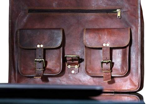 Men Genuine Quality Soft Leather Vintage Laptop Messenger Briefcase Bag Satchel