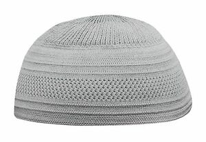 Silver Grey Cotton Stretch Knit Kufi Hat Skull Cap - Comfortable ... 792d7e7501fd