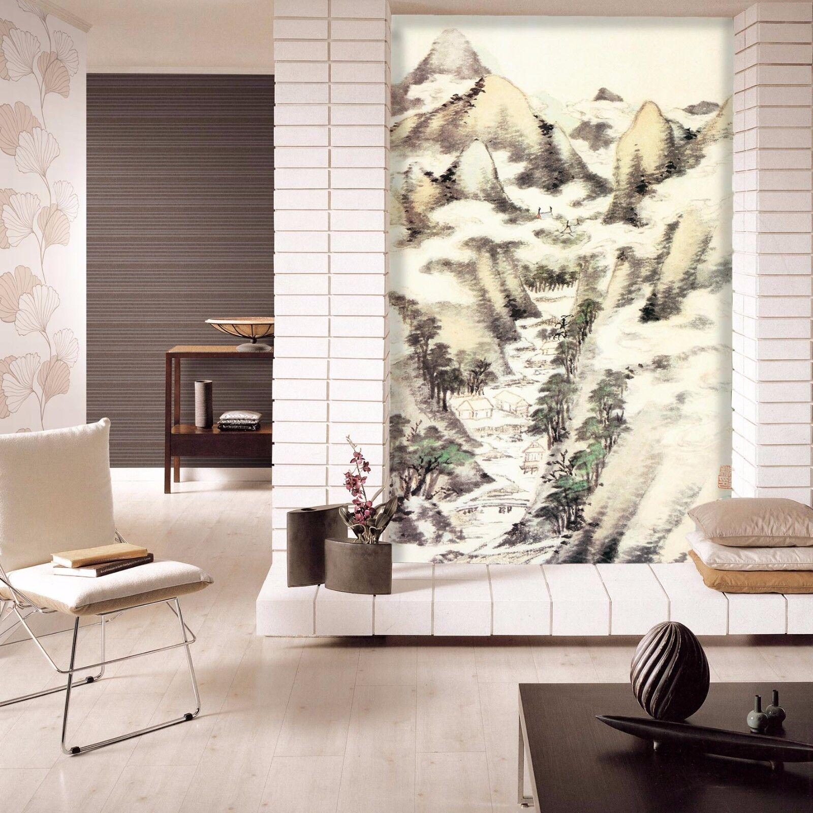 3D Mount Sketch 431 Wallpaper Murals Wall Print Wall Mural AJ WALLPAPER UK Lemon